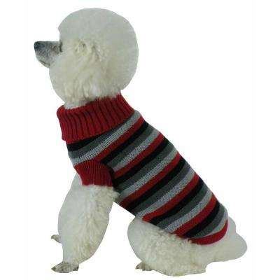 Medium Red and Black and Grey Polo-Casual Lounge Cable Knit Designer Turtle Neck Dog Sweater