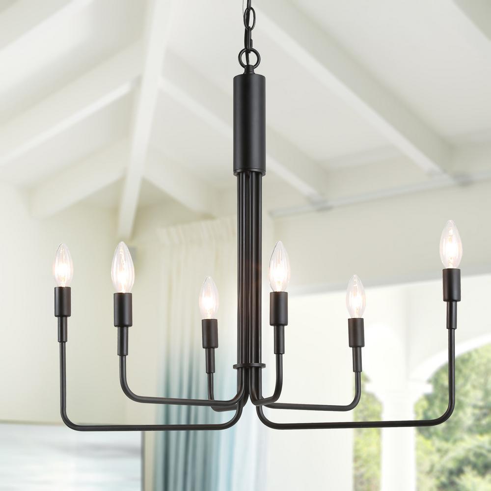 SEFINN FOUR Candle Shape Crystal Lamp Ceiling Light Fixture Pendant Chandelier 21 X 27 inch 6 Bulbs