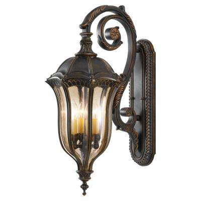 Baton Rouge 4-Light Walnut Outdoor 30 in. Wall Lantern Sconce