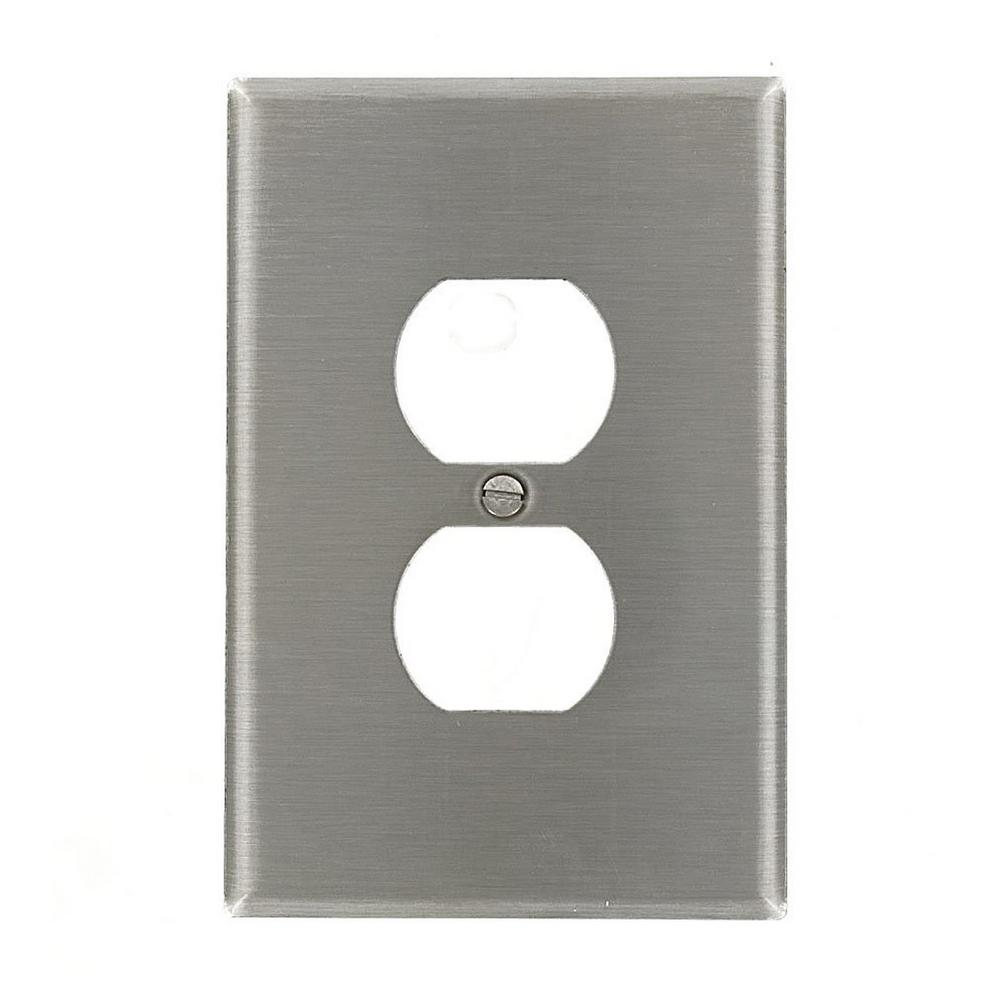 1-Gang 1 Duplex Receptacle, Large/Jumbo Size Wall Plate - Stainless Steel