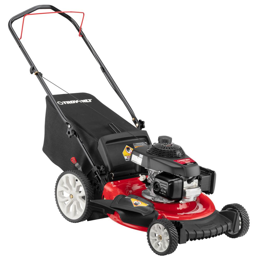 Troy-Bilt 21 in. 160 cc Honda Gas Walk Behind Push Mower with High Rear Wheels and 3-in-1 Cutting TriAction Cutting System