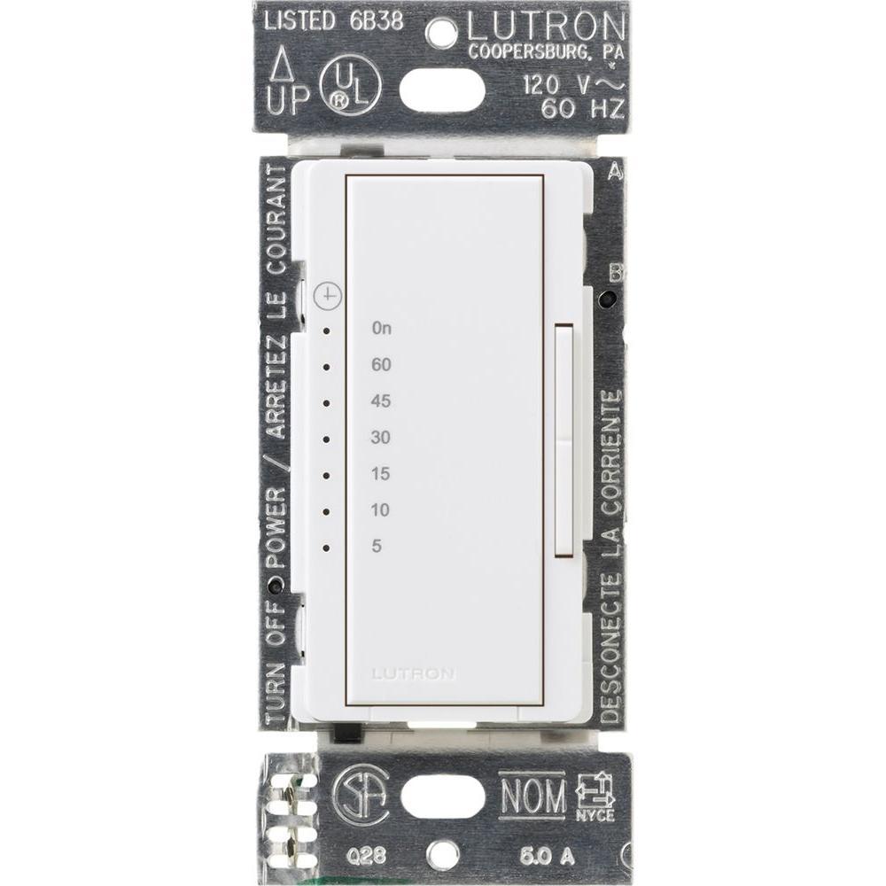 lutron maestro 600-watt/3-amp light fan timer - white