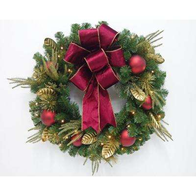 30 in. Pre-Lit LED Parisian Artificial Christmas Wreath with Burgundy Bow