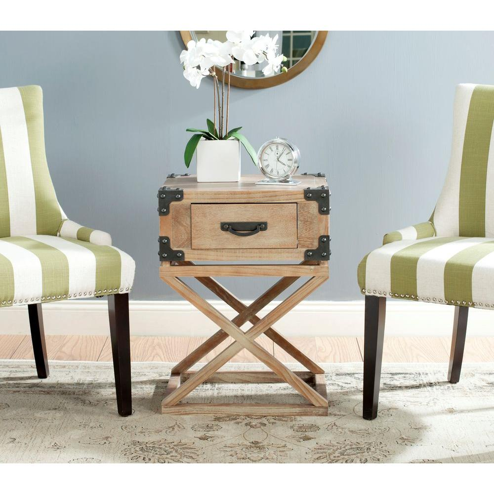 - Safavieh Dunstan Washed Natural Pine Storage End Table-AMH5720B - The Home  Depot