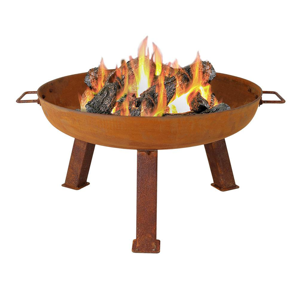 Sunnydaze Decor Rustic 24 in. x 15 in. Round Cast Iron Wood Burning Fire Pit Bowl in Rust