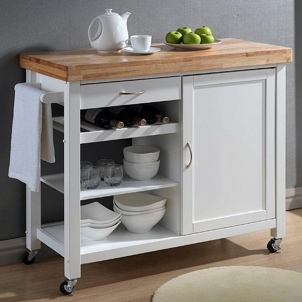 Beau Baxton Studio Denver White Kitchen Cart With Butcher Block Top