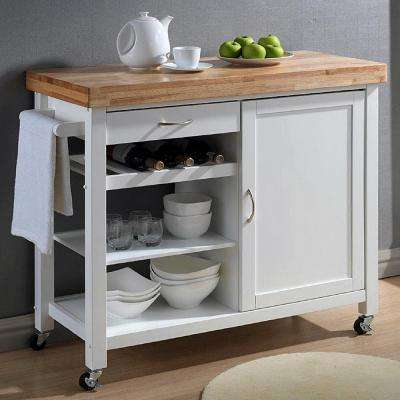 Denver White Kitchen Cart with Butcher Block Top