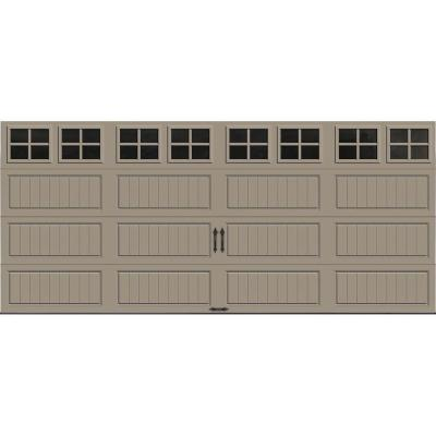 Gallery Collection 16 ft. x 7 ft. 18.4 R-Value Intellicore Insulated Sandtone Garage Door with SQ22 Window