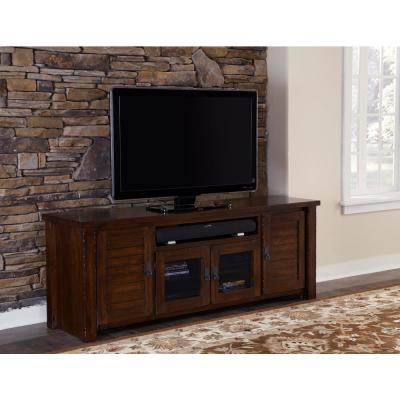 Trestlewood 74 in. Mesquite Pine Wood TV Stand Fits TVs Up to 65 in. with Storage Doors
