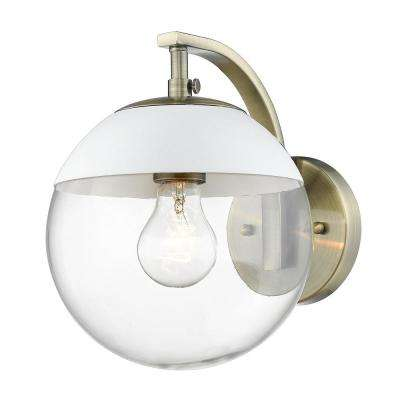 Dixon 1-Light Aged Brass with Clear Glass and White Cap Sconce