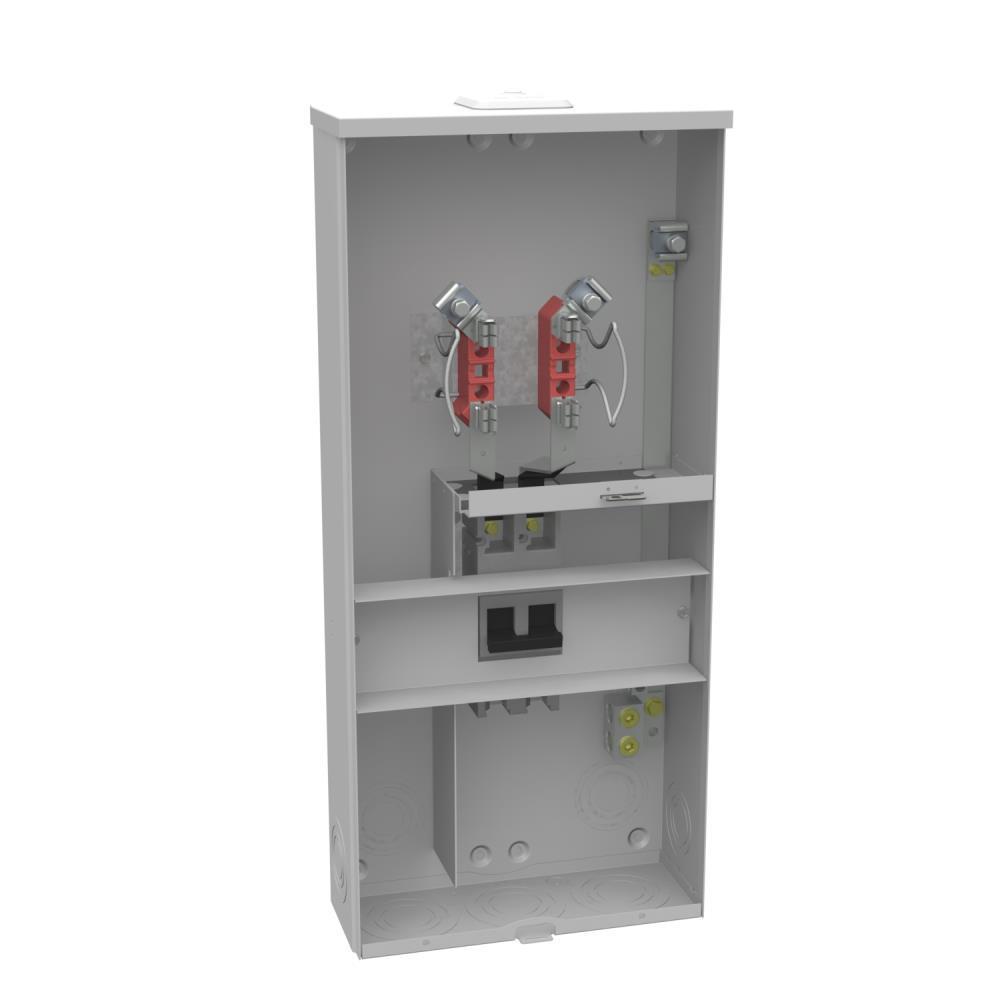 200 Amp 4 Terminal Ringless Overhead/Underground Meter Socket Main Breaker Combination