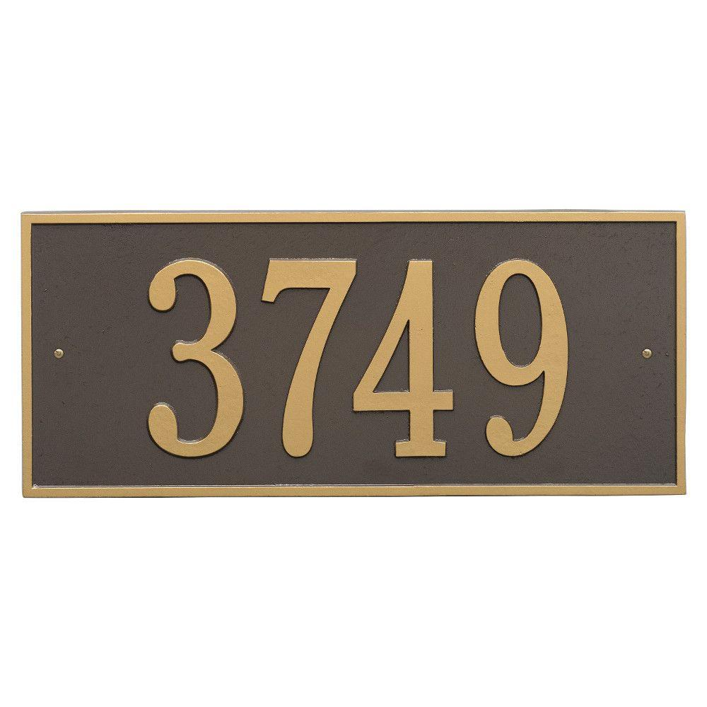 Whitehall Products Hartford Rectangular Bronze/Gold Estate Wall 1-Line Address Plaque