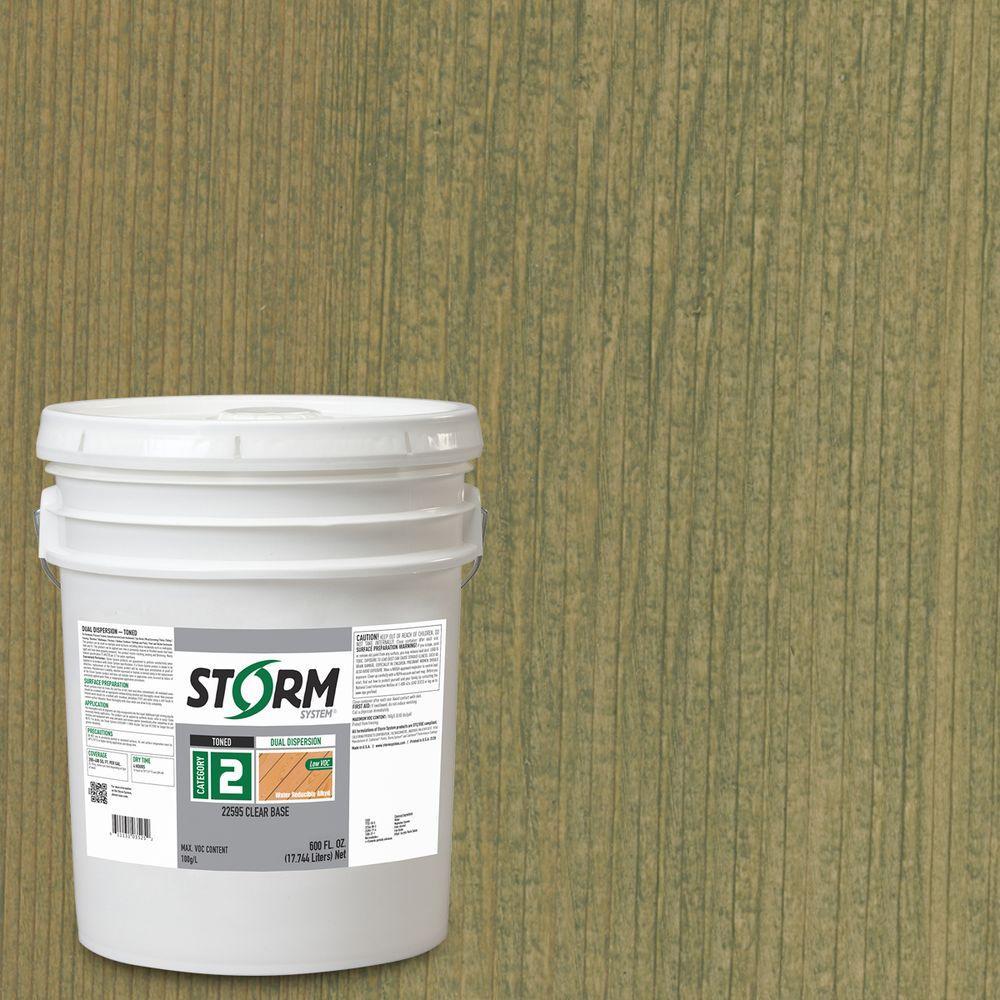 Storm System Category 2 5 gal. Estate Green Exterior Semi-Transparent Dual Dispersion Wood Finish