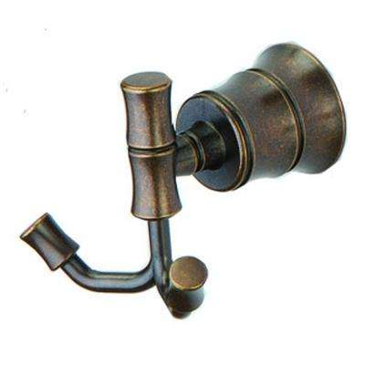 Bamboo Double Robe Hook in Heritage Bronze