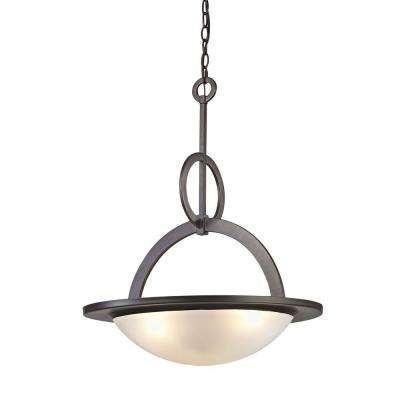 3-Light Oil-Rubbed Bronze Pendant with Frosted White Glass Bowl