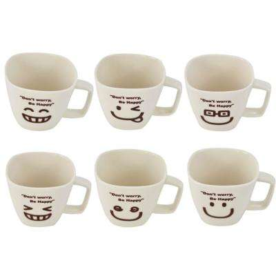 Don't Worry Be Happy Ceramic Tea Cup Face (Set of 6)