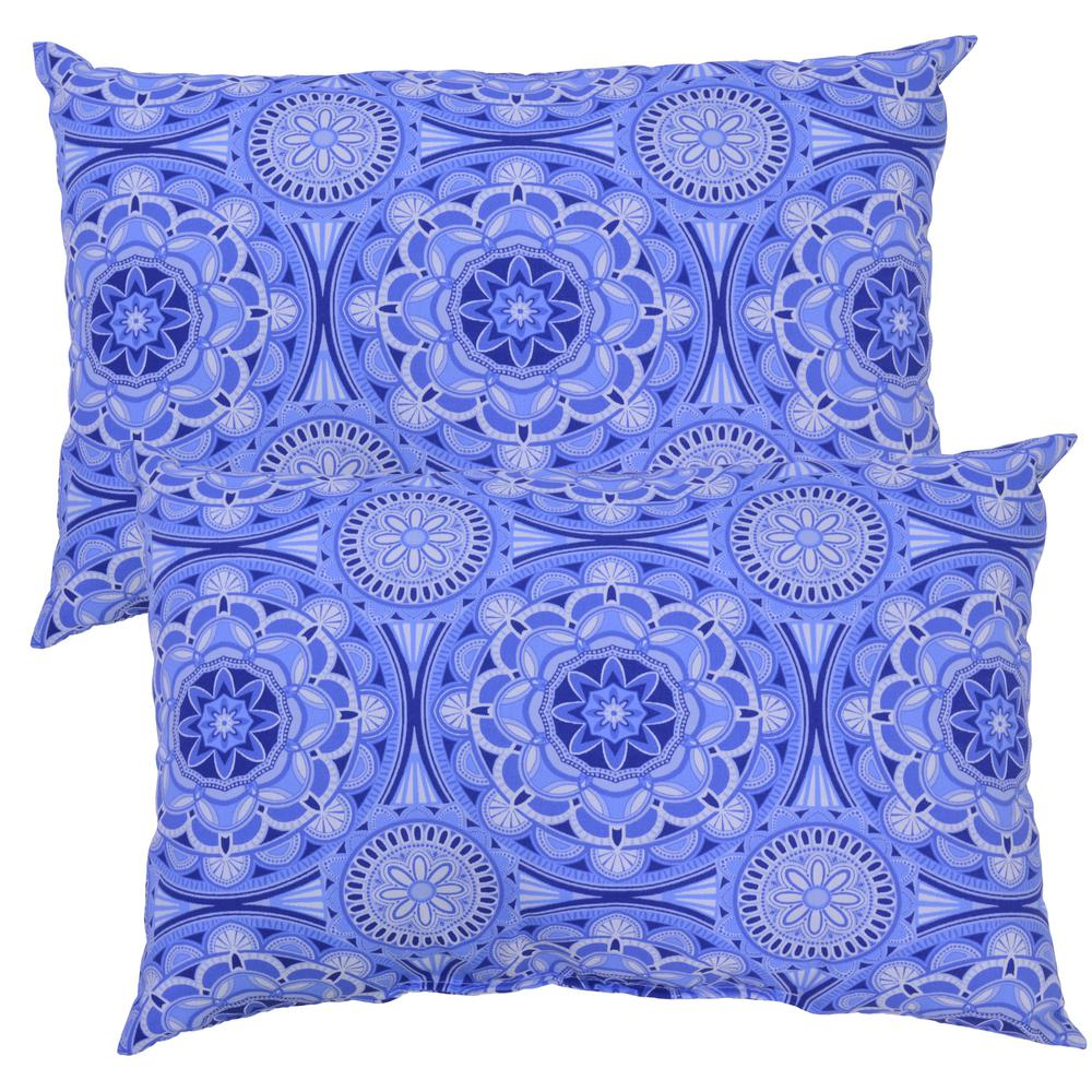 Plantation Patterns Llc Periwinkle Medallion Lumbar Outdoor Throw Pillow 2 Pack