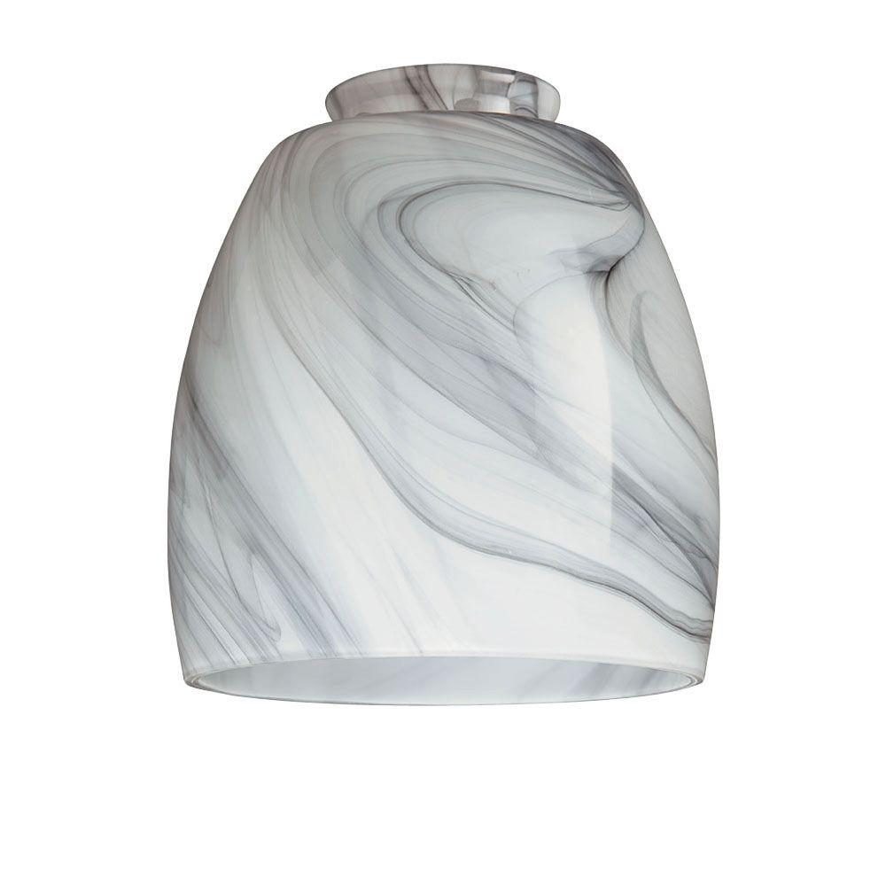 Hand Blown Charcoal Swirl Shade With 2