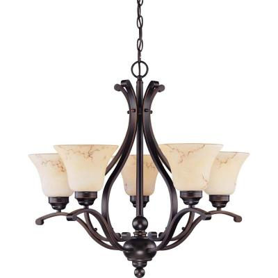 Vala Anastasia 5-Light Copper Espresso Chandelier with Honey Marble Glass
