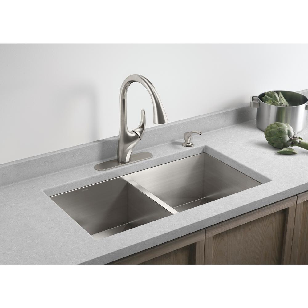 KOHLER Lyric Undermount Stainless Steel 32 in. Double Equal Bowl Kitchen  Sink
