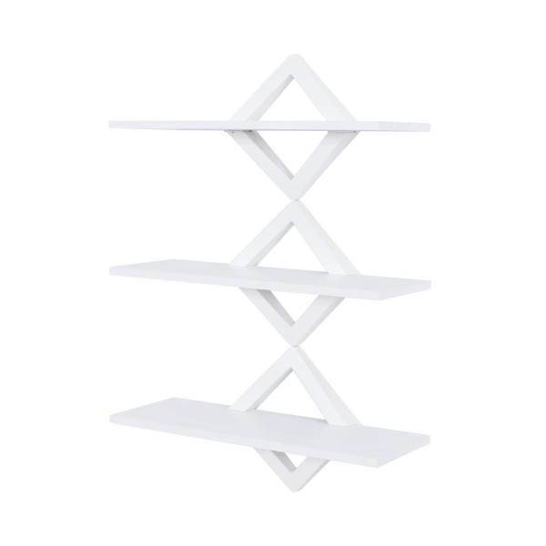 Danya B 3 Shelf 27 5 In X 10 In White Diamonds Wall Mount Decorative Shelving Unit Wl D101wh The Home Depot