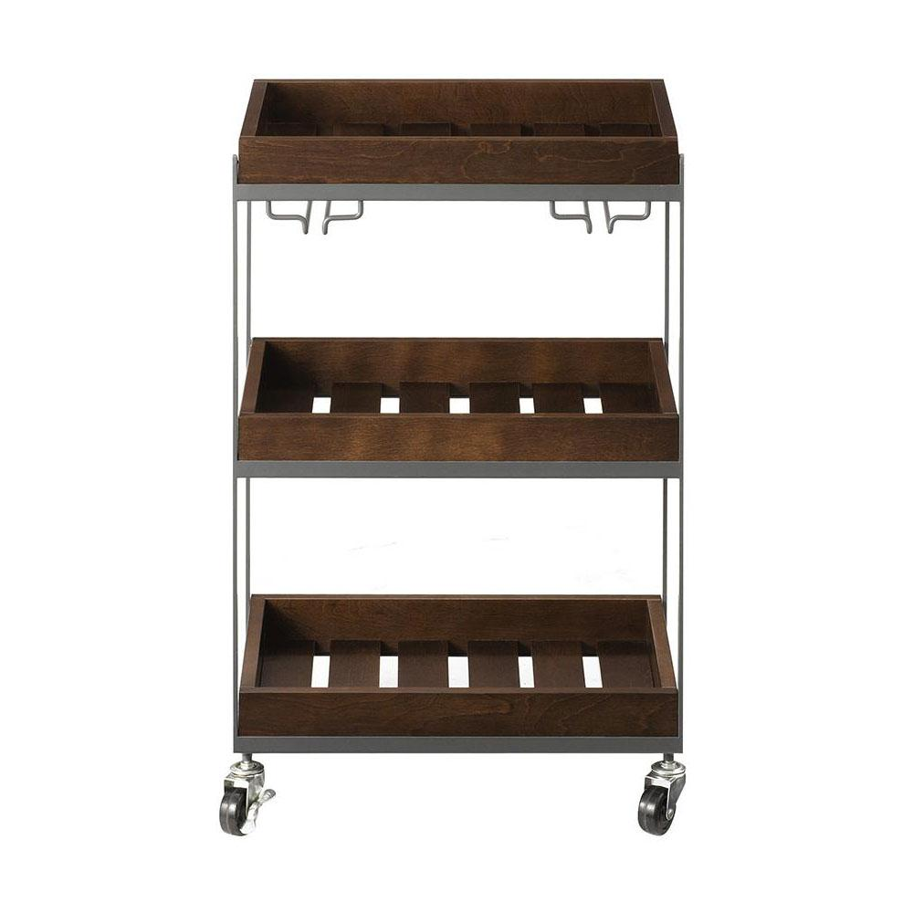 Hampton Medium Grey and Rustic Chestnut Serving Cart with Wine Glass