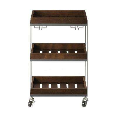 Hampton Medium Grey And Rustic Chestnut Serving Cart With Wine Glass Storage