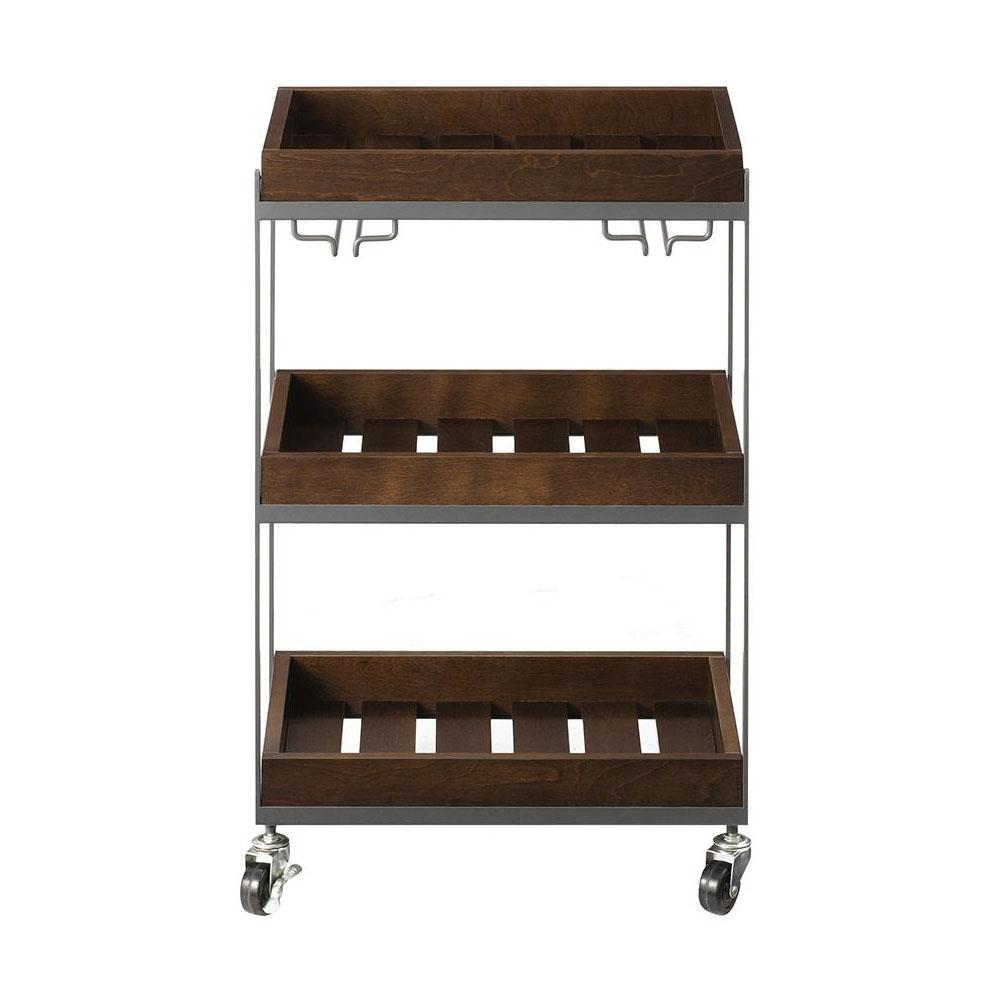 Home Decorators Collection Hampton Medium Grey and Rustic Chestnut Serving Cart