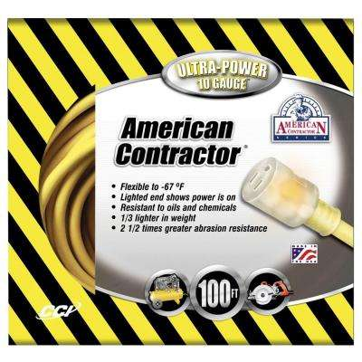 100 ft. 10/3 SJEO Outdoor Heavy-Duty T-Prene Extension Cord with Power Light Plug