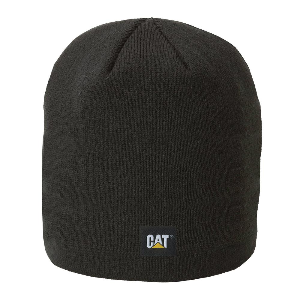 2e0a41202da Caterpillar Logo Men s One Size Black Acrylic Knit Cap Beanie ...