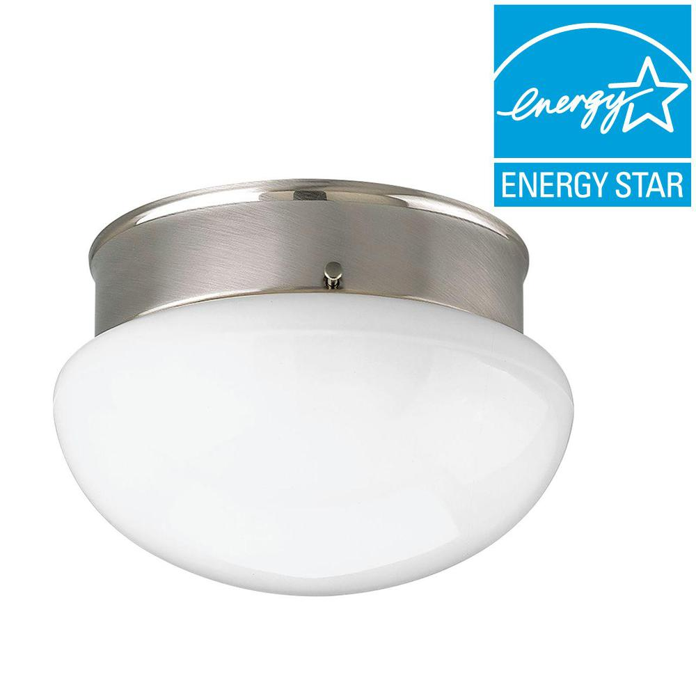 1-Light Brushed Nickel Flushmount with White Frosted