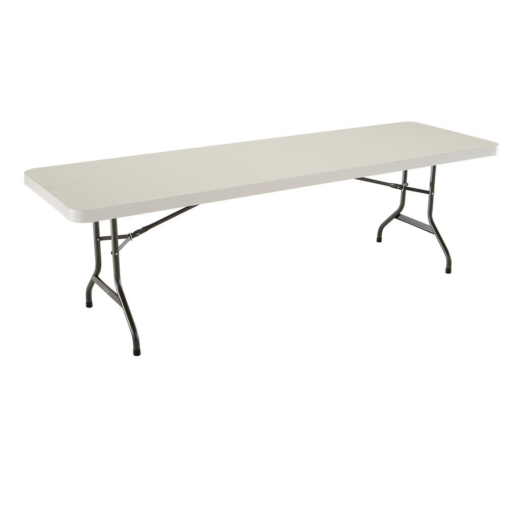 - Lifetime 96 In. Almond Plastic Folding Banquet Table-22984 - The
