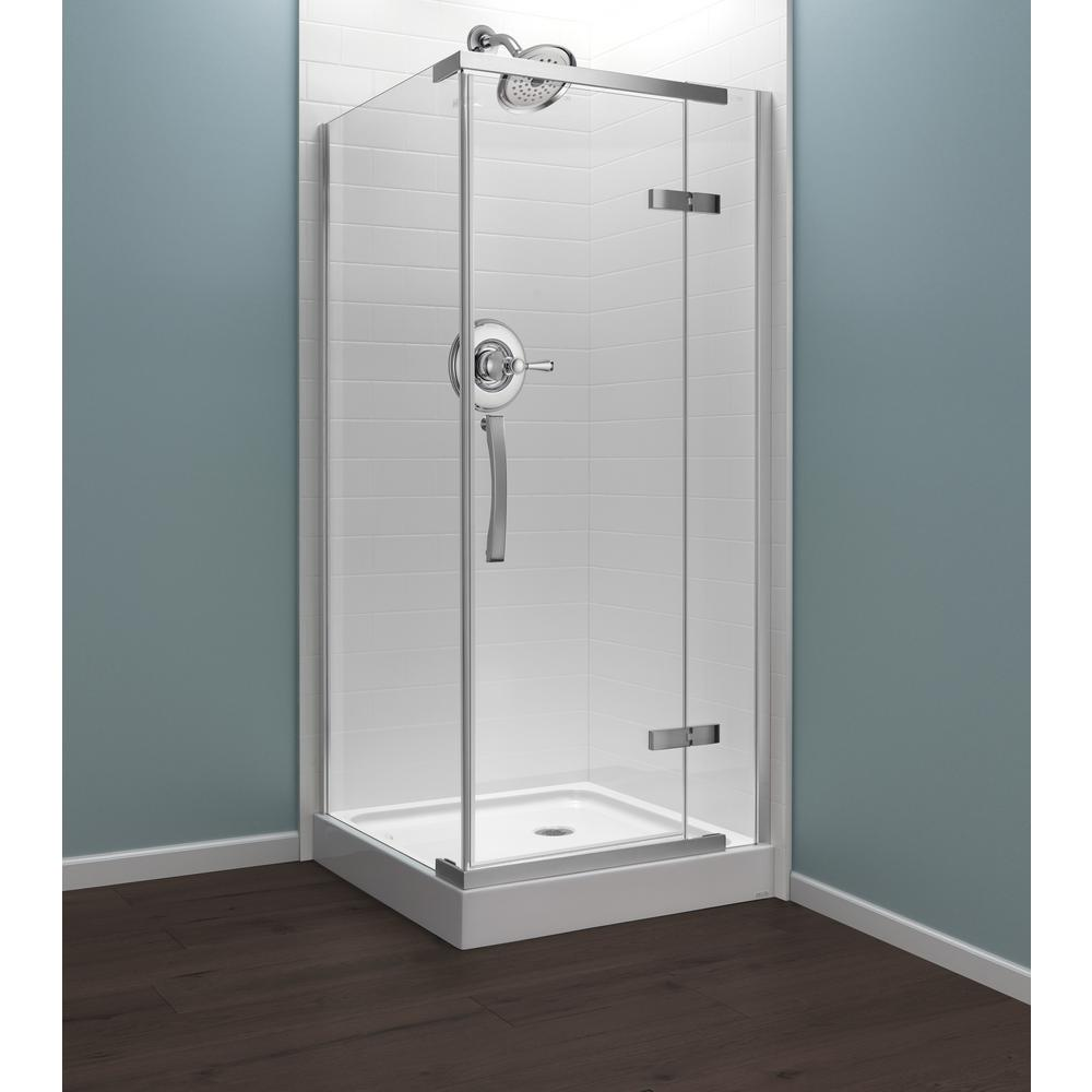 Delta 36 In X 76 In Frameless Corner Hinged Shower Enclosure In Chrome B912912 3636 Pc The Home Depot