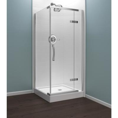 36 in. x 76 in. Frameless Corner Hinged Shower Enclosure in Chrome