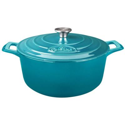 PRO Round 5 Qt. Cast Iron Casserole with Enamel in High Gloss Teal