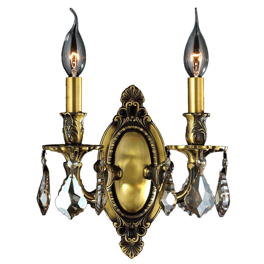 Worldwide Lighting Windsor 2-Light Antique Bronze Golden ...