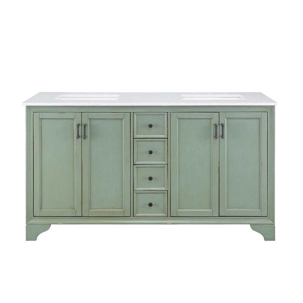 Home Decorators Collection Hazelton 61 In W X 22 In D Double Bath Vanity In Antique Green With