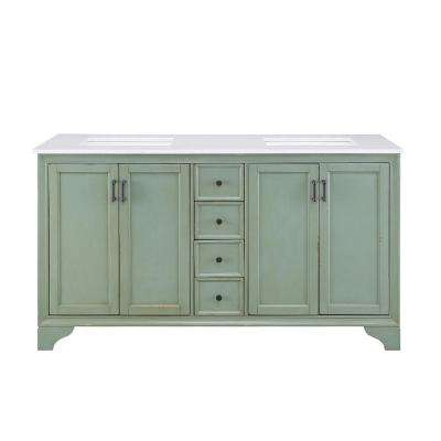 Hazelton 61 in. W Double Bath Vanity in Antique Green w/Engineered Stone Vanity Top in Crystal White with White Basins