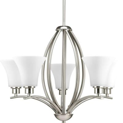 Joy Collection 5-Light Brushed Nickel Chandelier with Etched Glass Shade