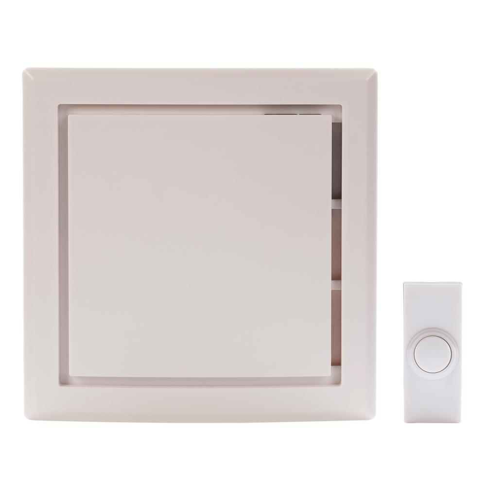 Hampton Bay Wireless Battery Operated Door Bell Kit with 1-Push Button in White