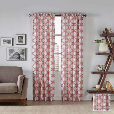 Kesey 63 in. L Polyester Rod Pocket Drapery Panel Pair in Coral