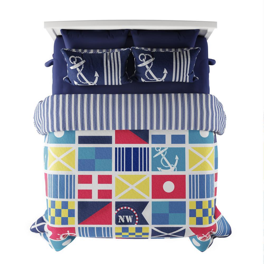 3-Piece Mariner Design Full/Queen Hypoallergenic Quilt Bedspread Set