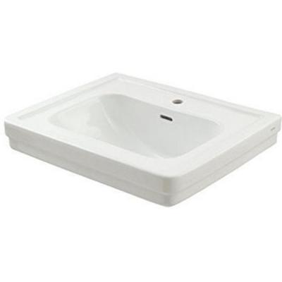 Promenade 24 in. Pedestal Sink Basin with Single Faucet Hole in Cotton White