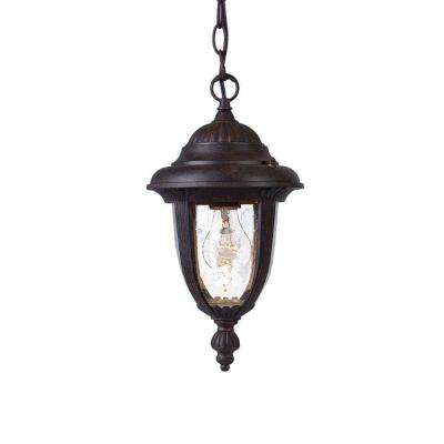 Monterey Collection Hanging 1-Light Outdoor Black Coral Lantern