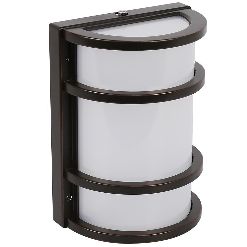 11.5-Watt Bronze Outdoor Integrated LED Half Moon Security Dusk to Dawn Sensor Area Wall Pack Light (4-Pack)