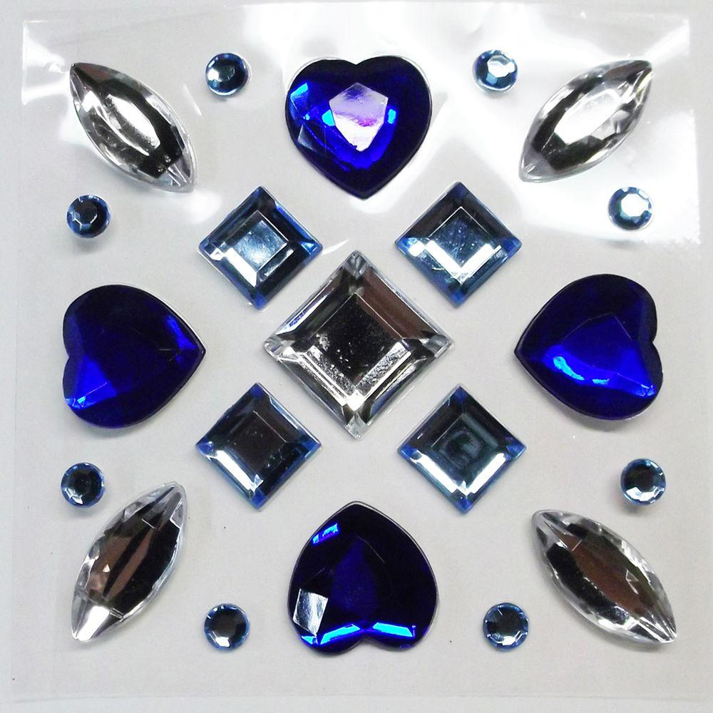 null 3 in. x 3 in. Blue 21-Piece Gems Wall Decal