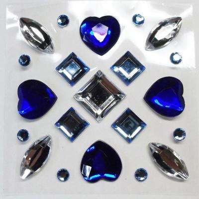 3 in. x 3 in. Blue 21-Piece Gems Wall Decal
