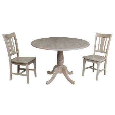 Laurel 3-Piece Weathered Taupe Drop-leaf Dining Set with 2-San Remo Chairs