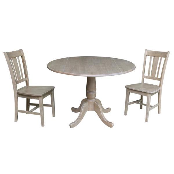Laurel 3-Piece 42 in. Gray Taupe Round Drop-Leaf Wood Dining Set with San Remo Chairs