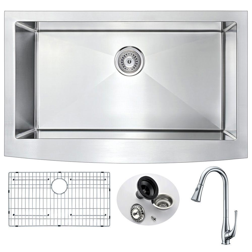 Elysian Farmhouse Stainless Steel 36 in. Single Bowl Kitchen Sink with